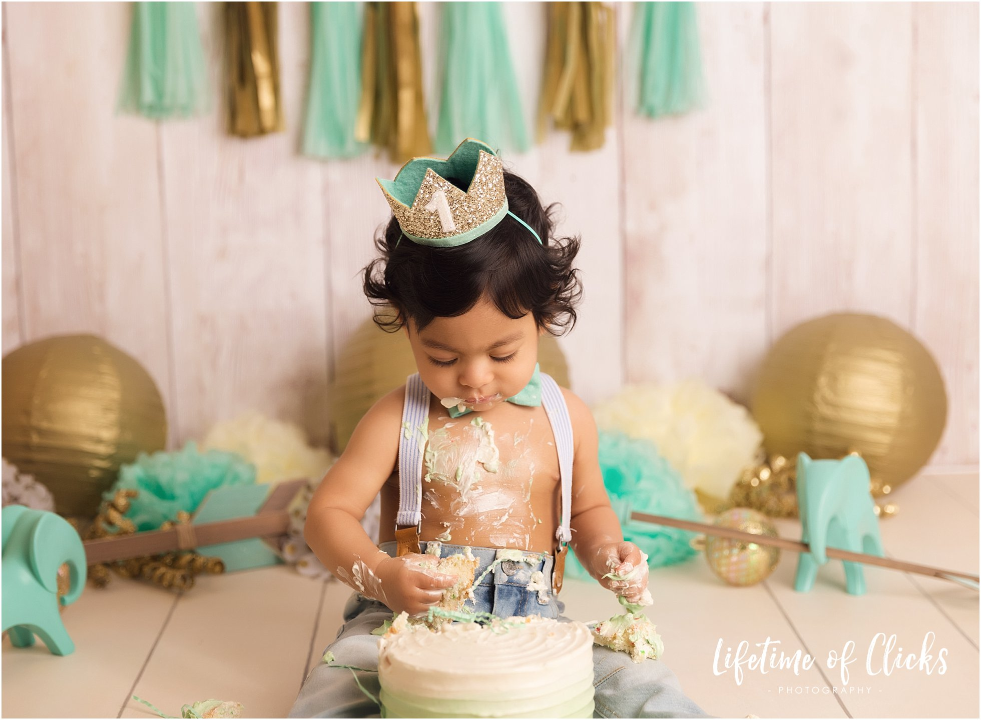 One year old boy smashes his first birthday cake
