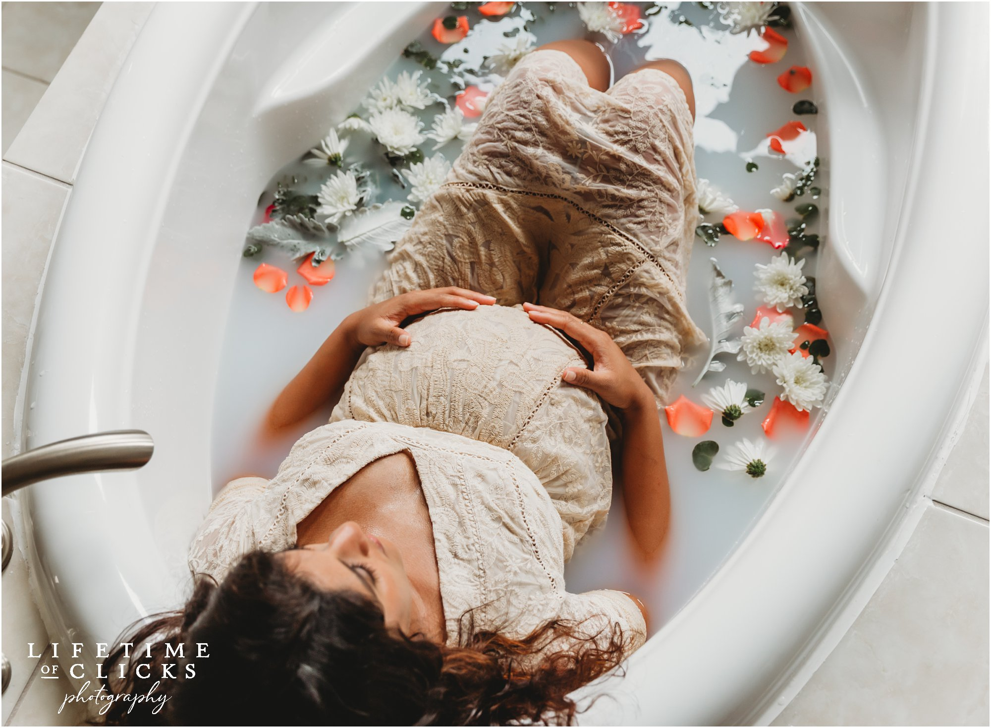 milk bath maternity photo shoot
